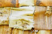 image of longhouse  - Detail of Huron longhouse covered with white birch bark - JPG