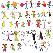 stock photo of cartoon people  - Collection of child like vector colour drawings - JPG