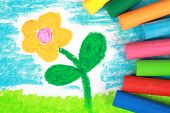 image of kiddie  - Kiddie style crayon drawing of a flower on a meadow - JPG