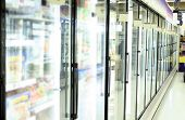 stock photo of grocery store  - freezer in grocery store - JPG