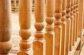 stock photo of balustrade  - row of balustrades on raised garden walkway or path - JPG