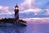 stock photo of lighthouse  - Beautiful scenery of dramatic sunset with lighthouse on island in sea - JPG