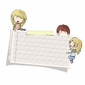 stock photo of post-teen  - Several kids around paper on isolated background - JPG