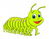 image of green caterpillar  - Caterpillar centipede cartoon vector illustration - JPG