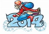 stock photo of horse wearing santa hat  - santa claus biker biker on the 2014 figure of digit symbol of the horse - JPG