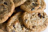 stock photo of baked raisin cookies  - Outmeal cookies with raisins - JPG