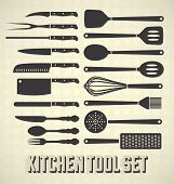 pic of chef knife  - Vector collection of vintage style kitchen utensil silhouettes - JPG