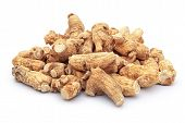 picture of ginseng  - ginseng stack up on a white background - JPG
