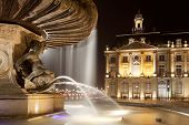stock photo of bordeaux  - Fountain of the three graces Bourse square Bordeaux Gironde Aquitaine France - JPG