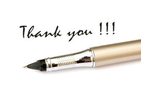stock photo of thank you note  - Thank you message and pen isolated on white - JPG