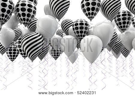 black and white ballons