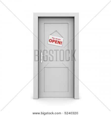 Closed Grey Door With Door Sign pen