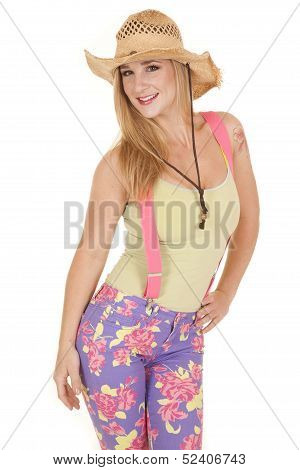 Woman Pink Suspenders Hat Pose