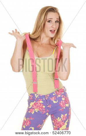 Woman Pink Suspenders Hold Up