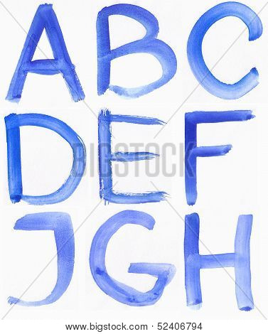 Handwritten Blue Watercolor Abc Alphabet