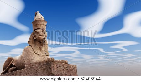 Egyptian Sphinx on blue sky background