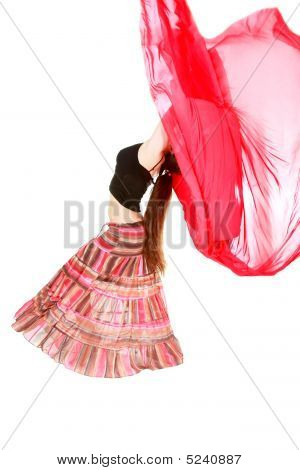 Girl Dancing With Red Scarf Over White