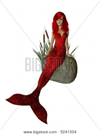 Red Mermaid Sitting On A Rock