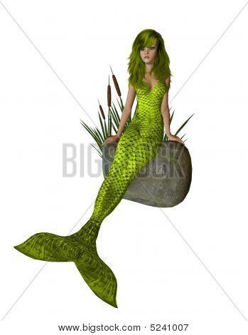 Yellow Mermaid Sitting On A Rock