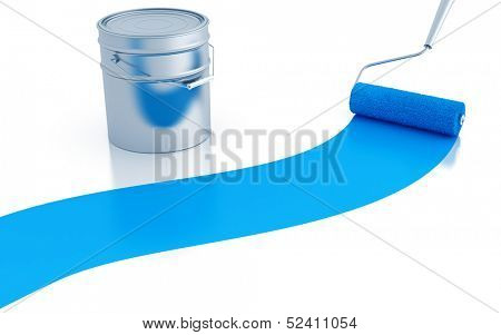 strip of blue paint and roller and metal canister