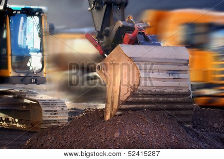 Bucket of backhoe on construction project