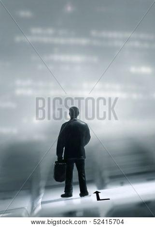 man on a trip standing on a keybord