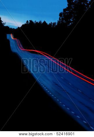 car driving at dusk/long exposer