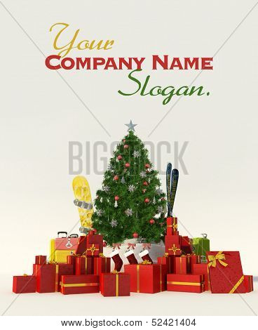 3D rendering of a Christmas tree, a snow covered directional sign with skis and snowboard an lots of presents customizable
