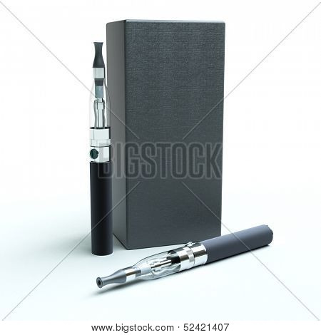 3D rendering of a pair of e-cigarettes with a box