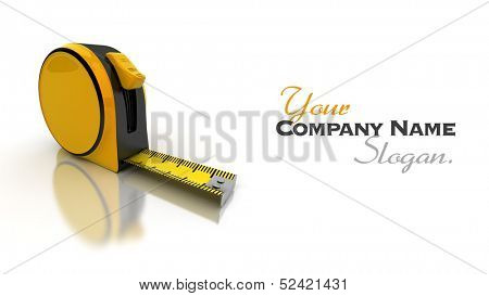 Partially unrolled tape measure, 3D rendering