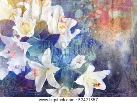 Artistic abstract watercolor painting with lily flowers on paper texture- mixed technique