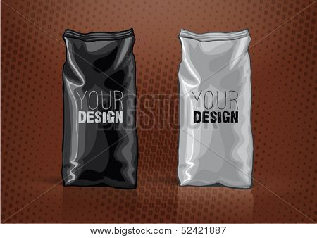 Black and white foil bag for new design. Sketch style