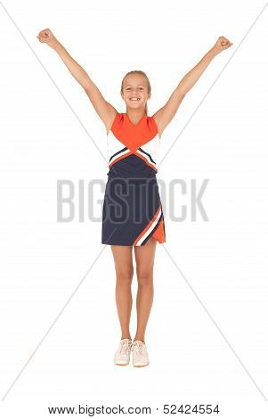 Young High School Cheerleader Cheering With No Pom Poms