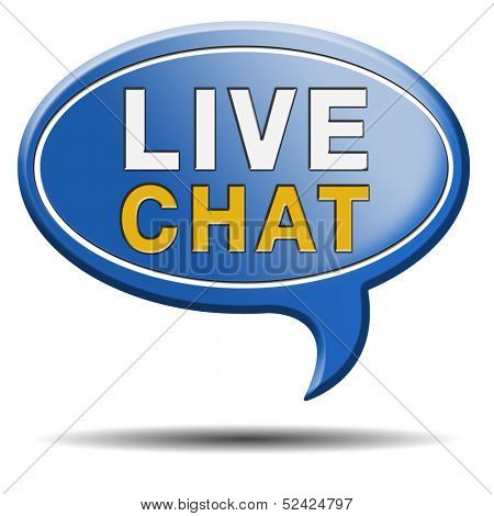live chat icon. Chatting online button. Blue text balloon.
