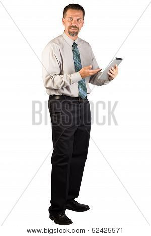 Corporate Man Standing And Using A Tablet