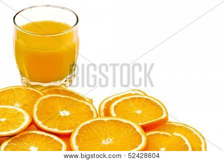 fresh orange juice and sliced oranges fruits isolated on white