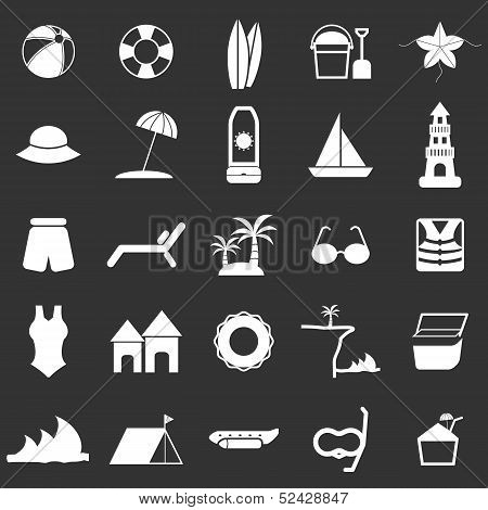 Beach Icons On Black Background