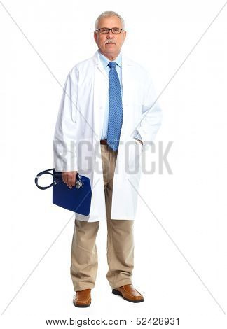 Doctor physician Standing Isolated on white background.