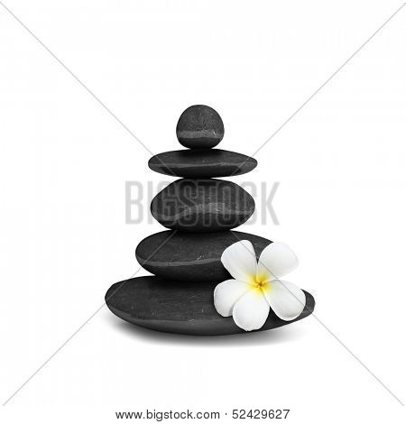 Zen mediation spa relax concept background - zen stones balance isolated on white