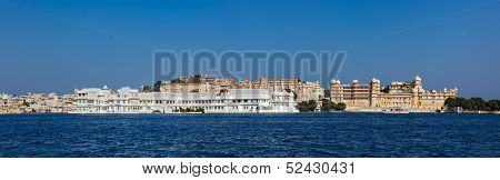 India luxury romantic travel tourism concept background - panorama of Lake Pichola, Lake palace and City Palace. Udaipur, India