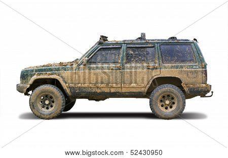 Mud-splattered SUV