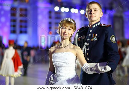 MOSCOW - FEB 22: Beautiful couple of young people on Kremlin Cadet Ball, on February 22, 2013 in Moscow, Russia.