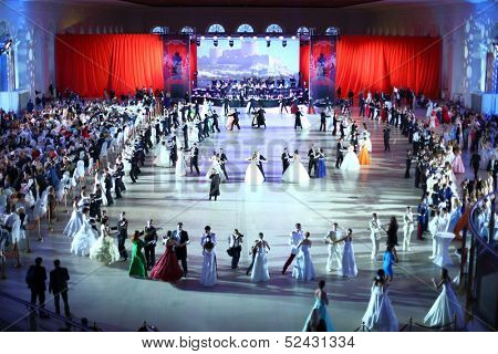 MOSCOW - FEB 22: Two rounds of dancing couples in the hall on Kremlin Cadet Ball, on February 22, 2013 in Moscow, Russia.