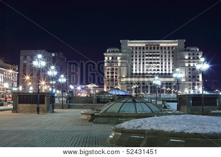 MOSCOW - FEB 22: Manege Square in Moscow at night, on February 22, 2013 in Moscow, Russia.