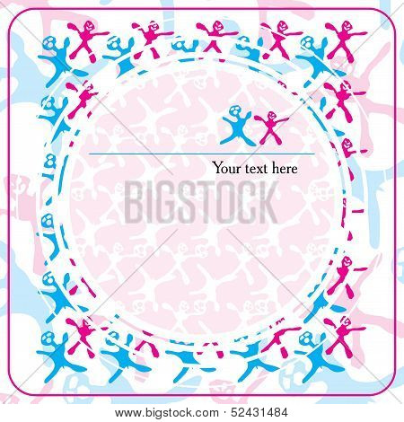 background with red and blue feminine and masculine signs and circles with frame