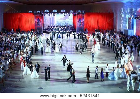 MOSCOW - FEB 22: Top view of dancing couples on Kremlin Cadet Ball, on February 22, 2013 in Moscow, Russia.