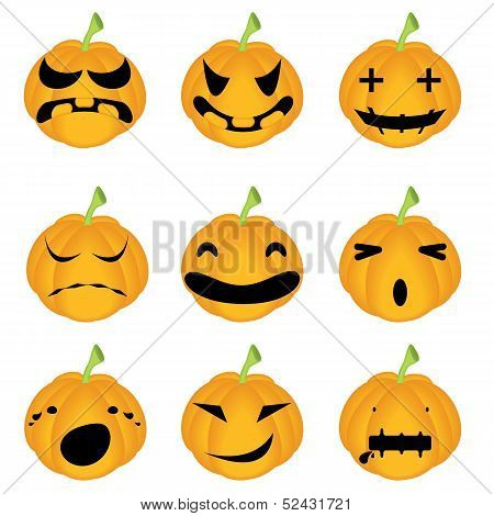 Halloween Pumpkins; Horror Persons; Emotion Variation; Vector Icon Set