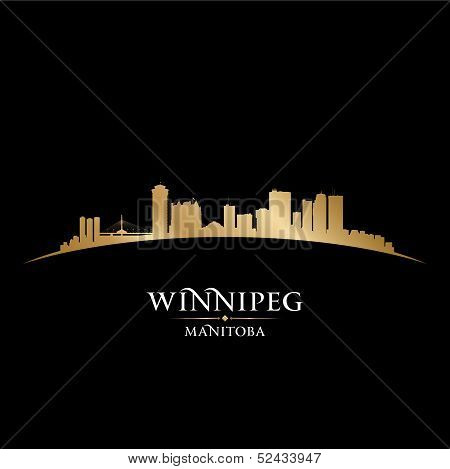 Winnipeg Manitoba Canada City Skyline Silhouette Black Background