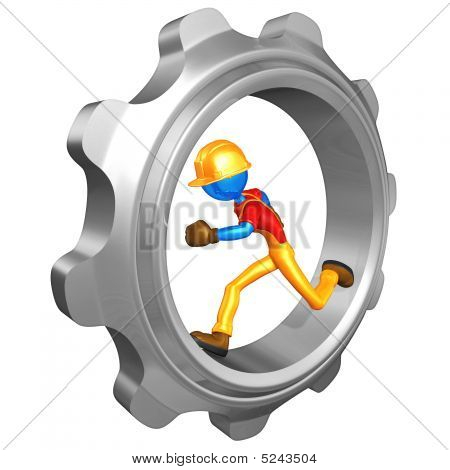 Construction Worker Running In Gear