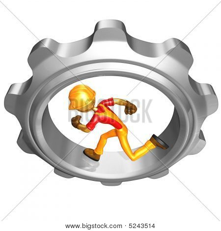 Gold Guy Construction Worker Running In A Gear